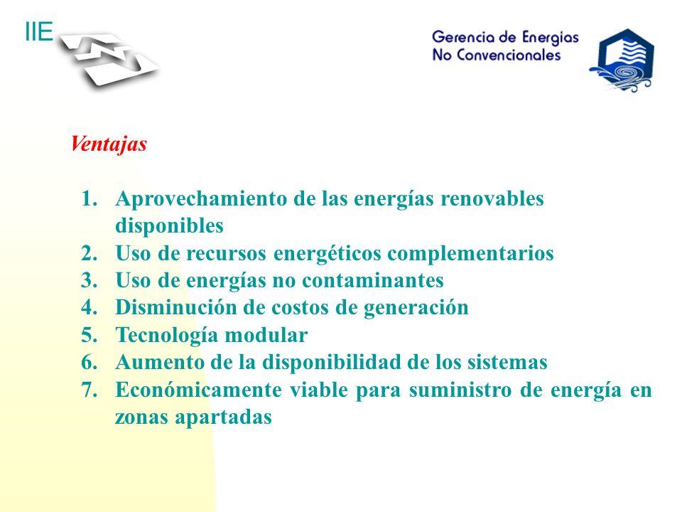 Ventajas Aprovechamiento de las energías renovables disponibles. Uso de recursos energéticos complementarios.