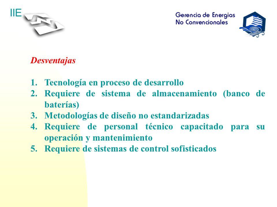 Desventajas Tecnología en proceso de desarrollo. Requiere de sistema de almacenamiento (banco de baterías)