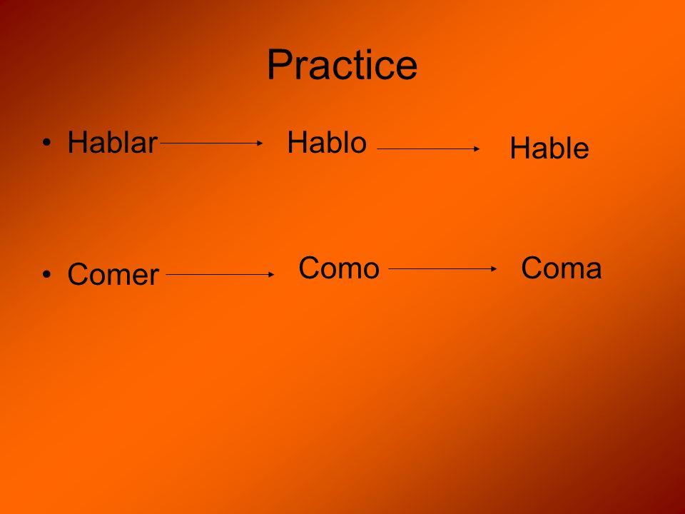Practice Hablar Comer Hablo Hable Como Coma