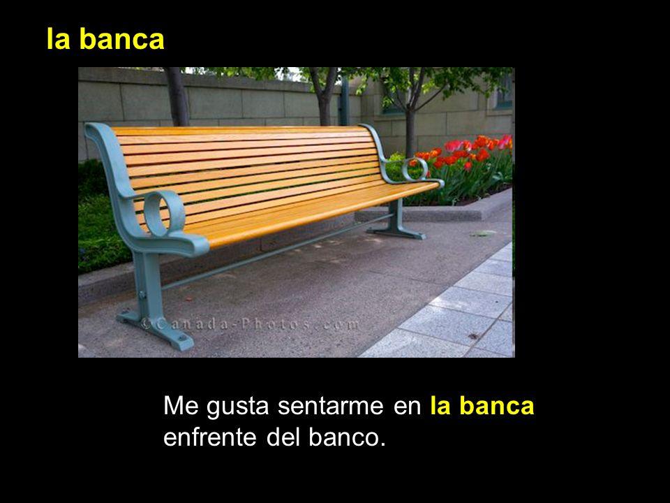 la banca Me gusta sentarme en la banca enfrente del banco.