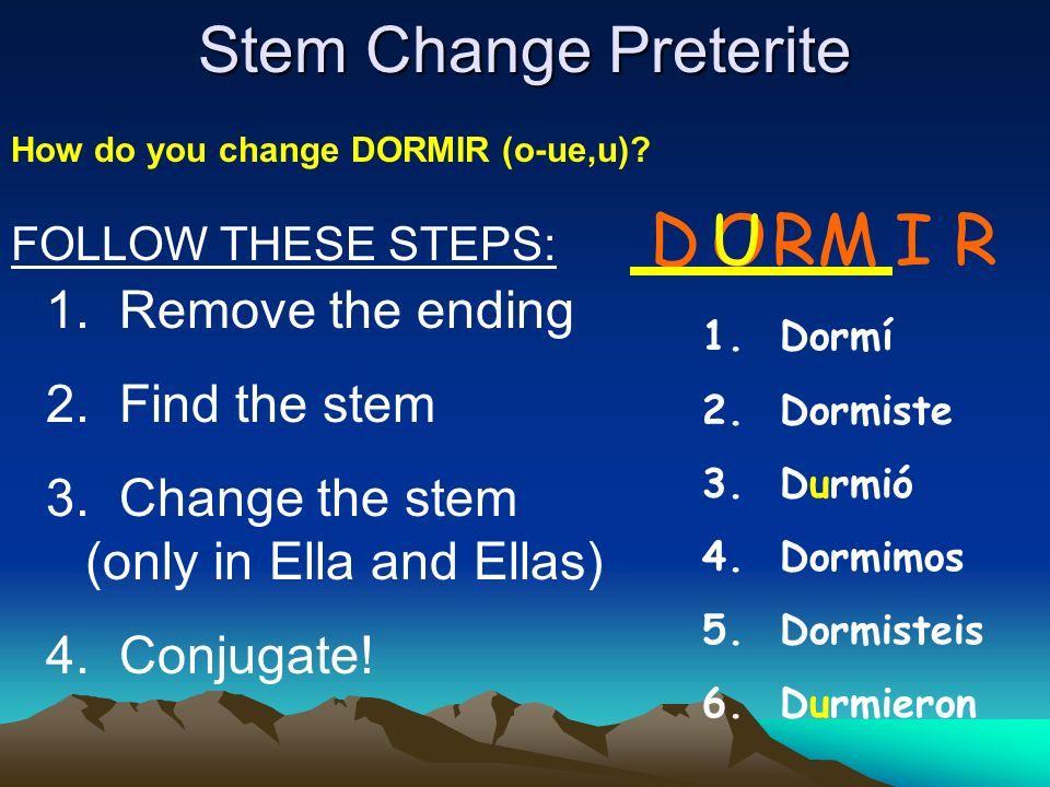 D U O RM I R Stem Change Preterite Remove the ending Find the stem