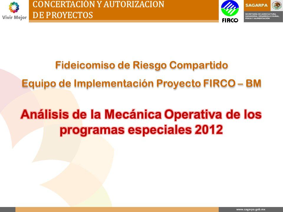 Análisis de la Mecánica Operativa de los programas especiales 2012