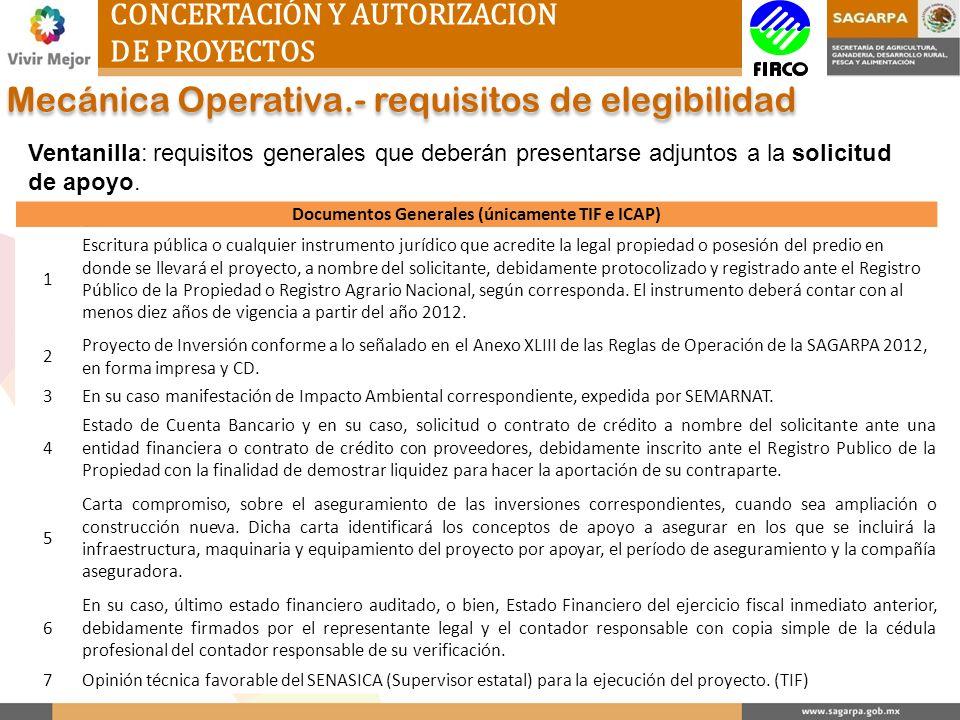 Documentos Generales (únicamente TIF e ICAP)