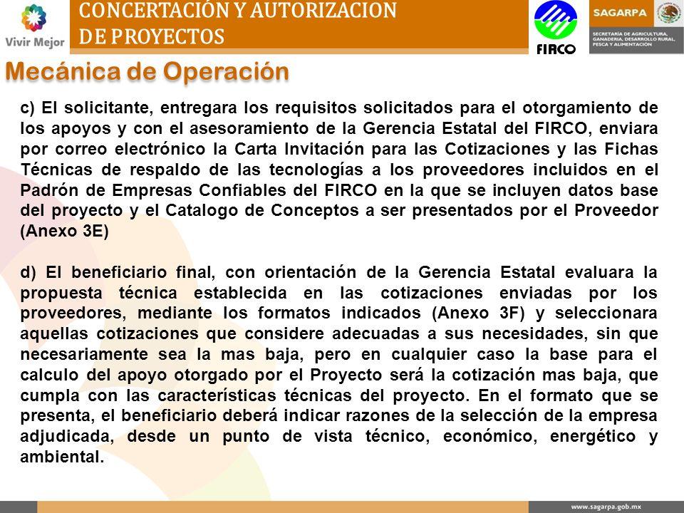 Mecánica de Operación CONCERTACIÓN Y AUTORIZACION DE PROYECTOS