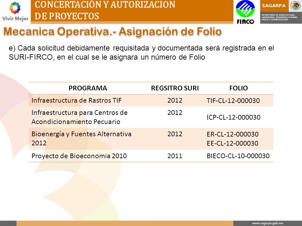 Mecanica Operativa.- Asignación de Folio