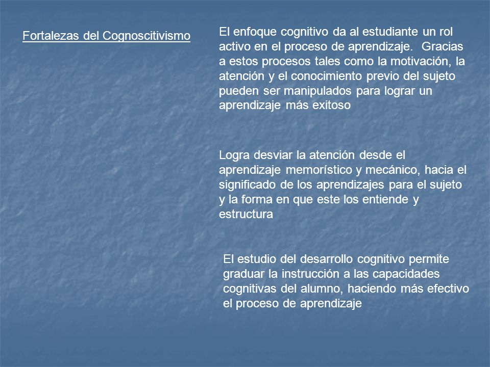 El enfoque cognitivo da al estudiante un rol activo en el proceso de aprendizaje. Gracias a estos procesos tales como la motivación, la atención y el conocimiento previo del sujeto pueden ser manipulados para lograr un aprendizaje más exitoso