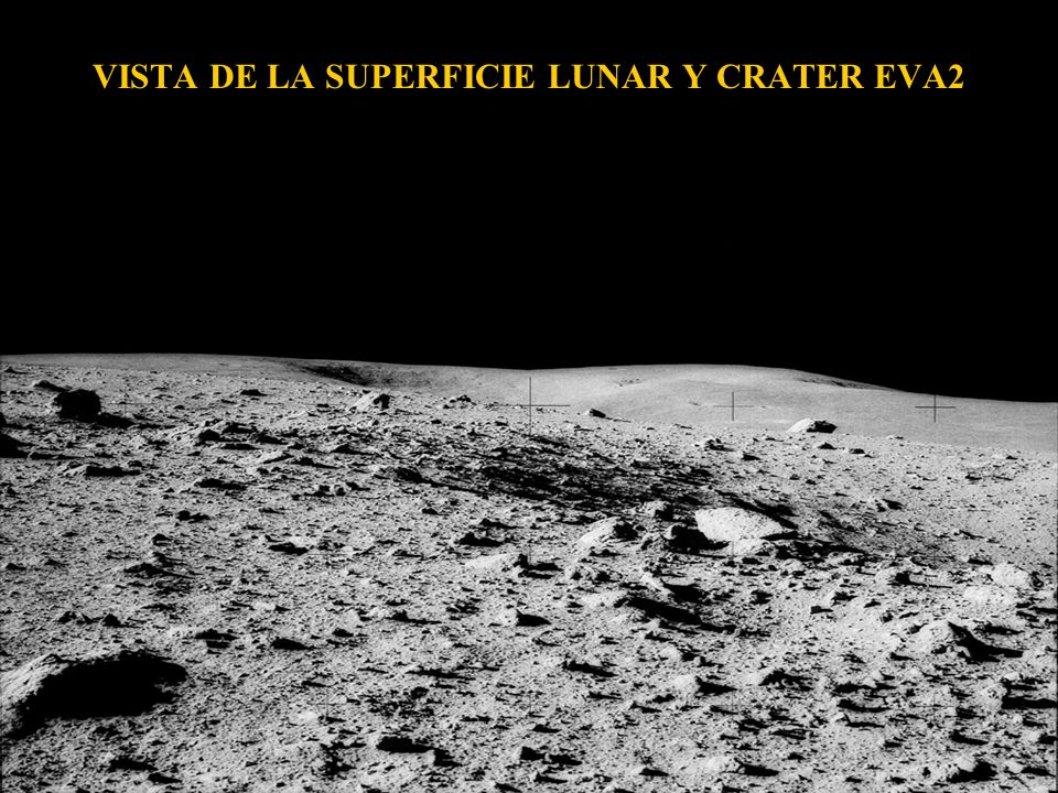 VISTA DE LA SUPERFICIE LUNAR Y CRATER EVA2