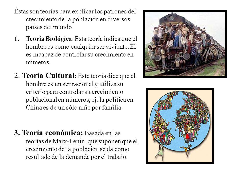 Éstas son teorías para explicar los patrones del crecimiento de la población en diversos países del mundo.
