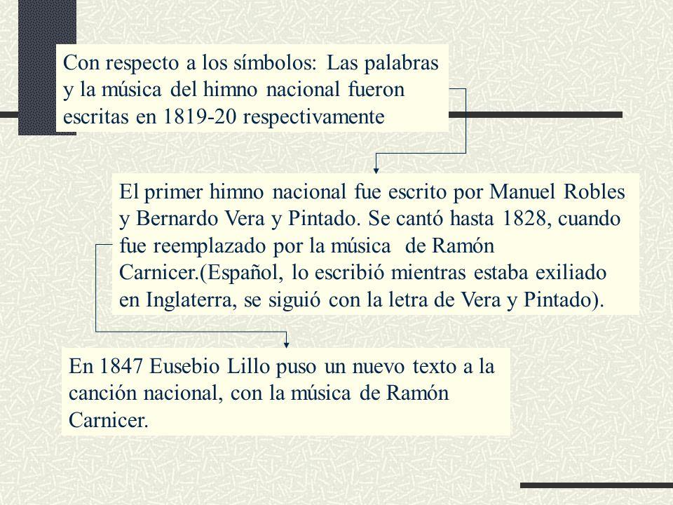 Con respecto a los símbolos: Las palabras y la música del himno nacional fueron escritas en 1819-20 respectivamente