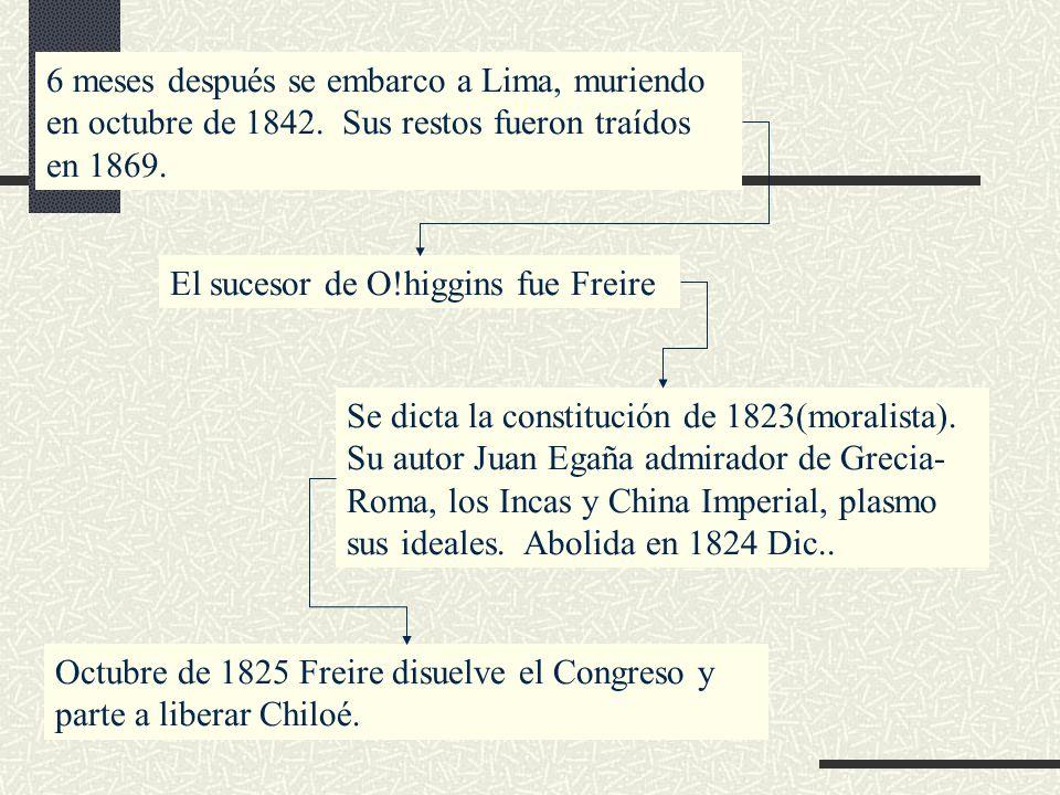 6 meses después se embarco a Lima, muriendo en octubre de 1842