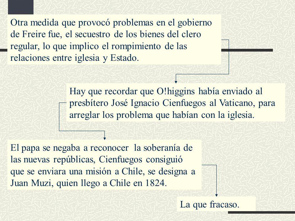 Otra medida que provocó problemas en el gobierno de Freire fue, el secuestro de los bienes del clero regular, lo que implico el rompimiento de las relaciones entre iglesia y Estado.