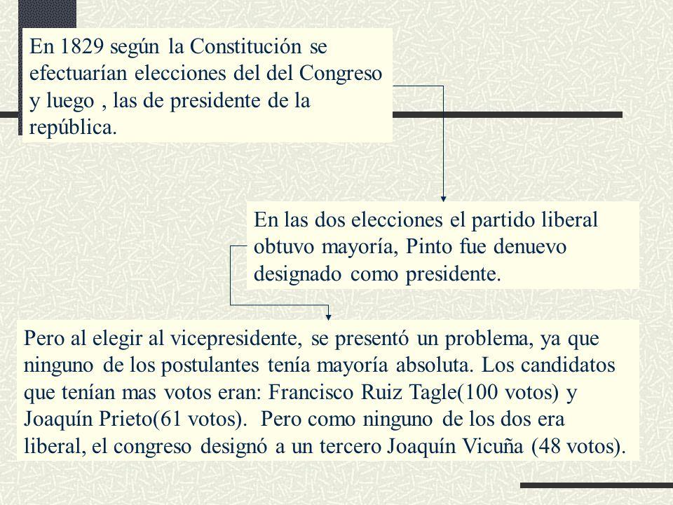 En 1829 según la Constitución se efectuarían elecciones del del Congreso y luego , las de presidente de la república.