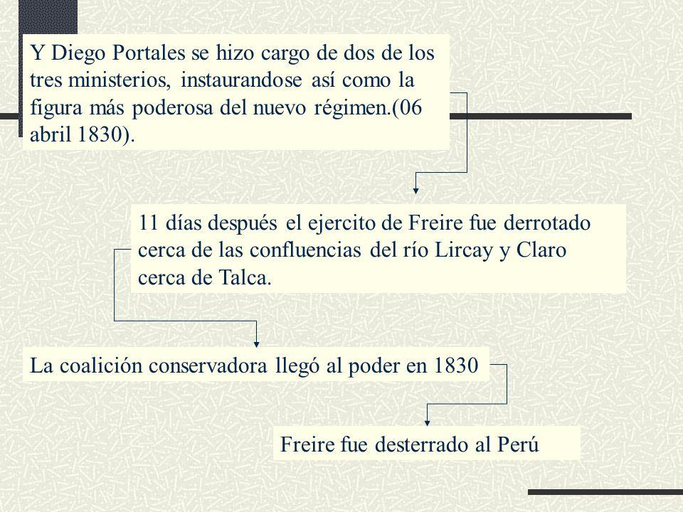 Y Diego Portales se hizo cargo de dos de los tres ministerios, instaurandose así como la figura más poderosa del nuevo régimen.(06 abril 1830).