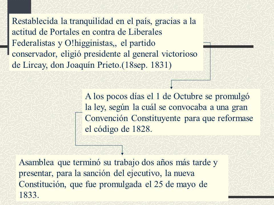 Restablecida la tranquilidad en el país, gracias a la actitud de Portales en contra de Liberales Federalistas y O!higginistas,, el partido conservador, eligió presidente al general victorioso de Lircay, don Joaquín Prieto.(18sep. 1831)
