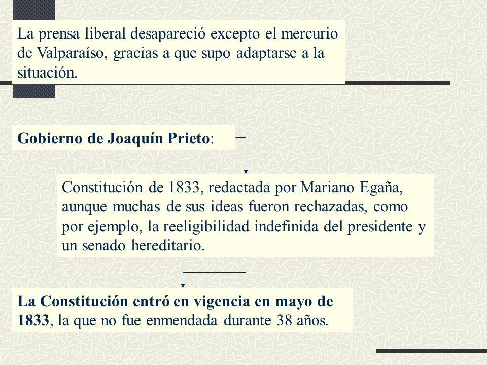 La prensa liberal desapareció excepto el mercurio de Valparaíso, gracias a que supo adaptarse a la situación.