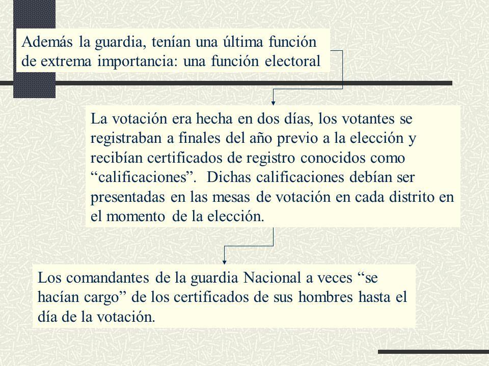 Además la guardia, tenían una última función de extrema importancia: una función electoral