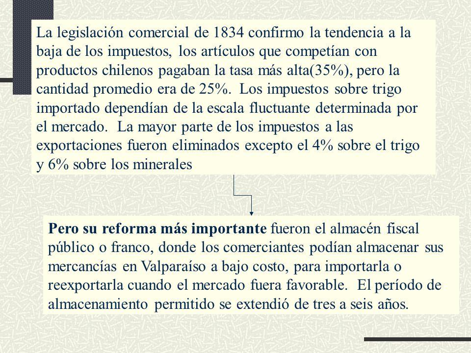 La legislación comercial de 1834 confirmo la tendencia a la baja de los impuestos, los artículos que competían con productos chilenos pagaban la tasa más alta(35%), pero la cantidad promedio era de 25%. Los impuestos sobre trigo importado dependían de la escala fluctuante determinada por el mercado. La mayor parte de los impuestos a las exportaciones fueron eliminados excepto el 4% sobre el trigo y 6% sobre los minerales