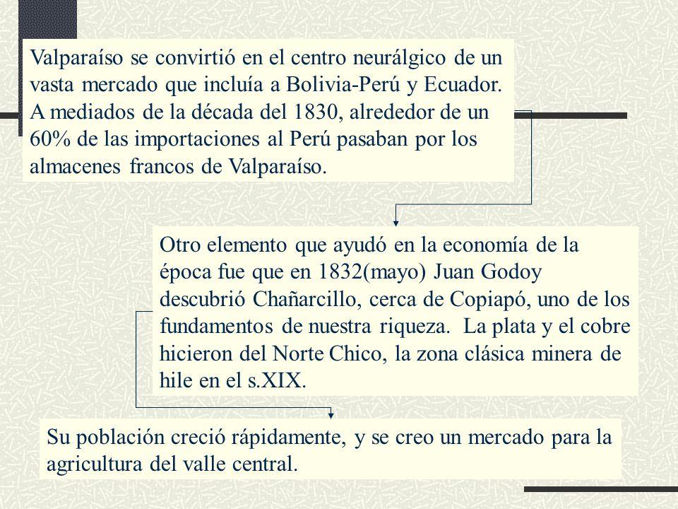 Valparaíso se convirtió en el centro neurálgico de un vasta mercado que incluía a Bolivia-Perú y Ecuador. A mediados de la década del 1830, alrededor de un 60% de las importaciones al Perú pasaban por los almacenes francos de Valparaíso.