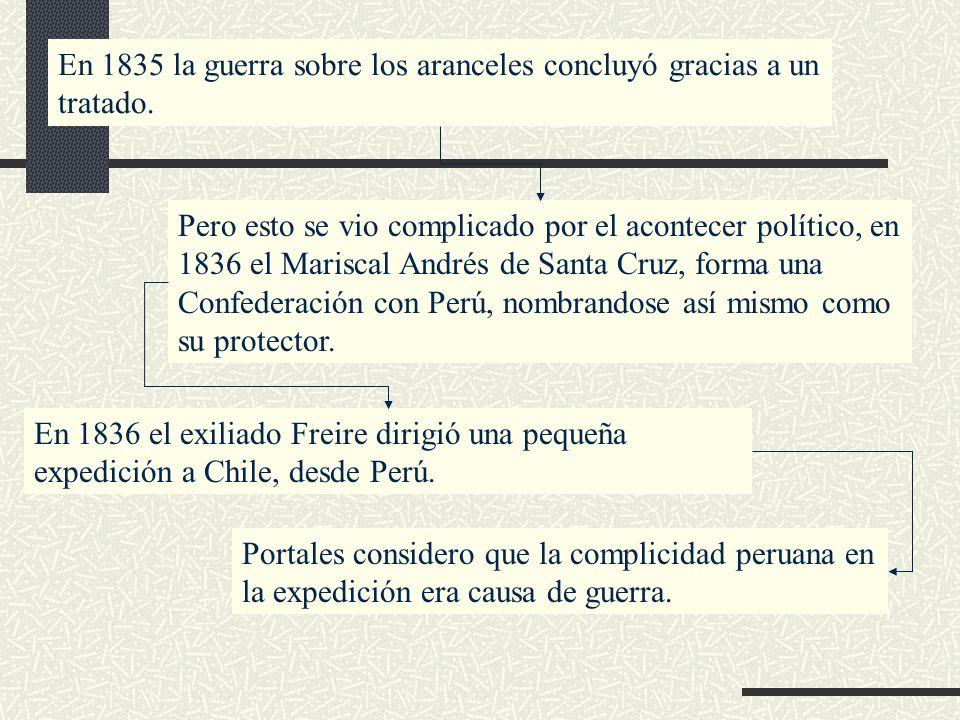 En 1835 la guerra sobre los aranceles concluyó gracias a un tratado.