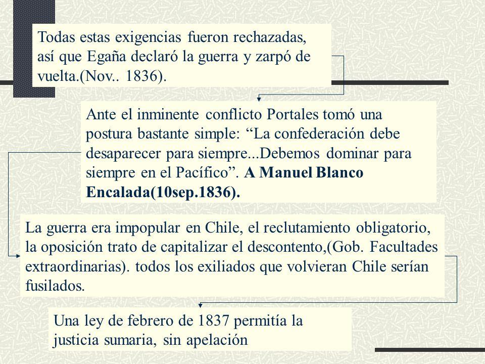 Todas estas exigencias fueron rechazadas, así que Egaña declaró la guerra y zarpó de vuelta.(Nov.. 1836).