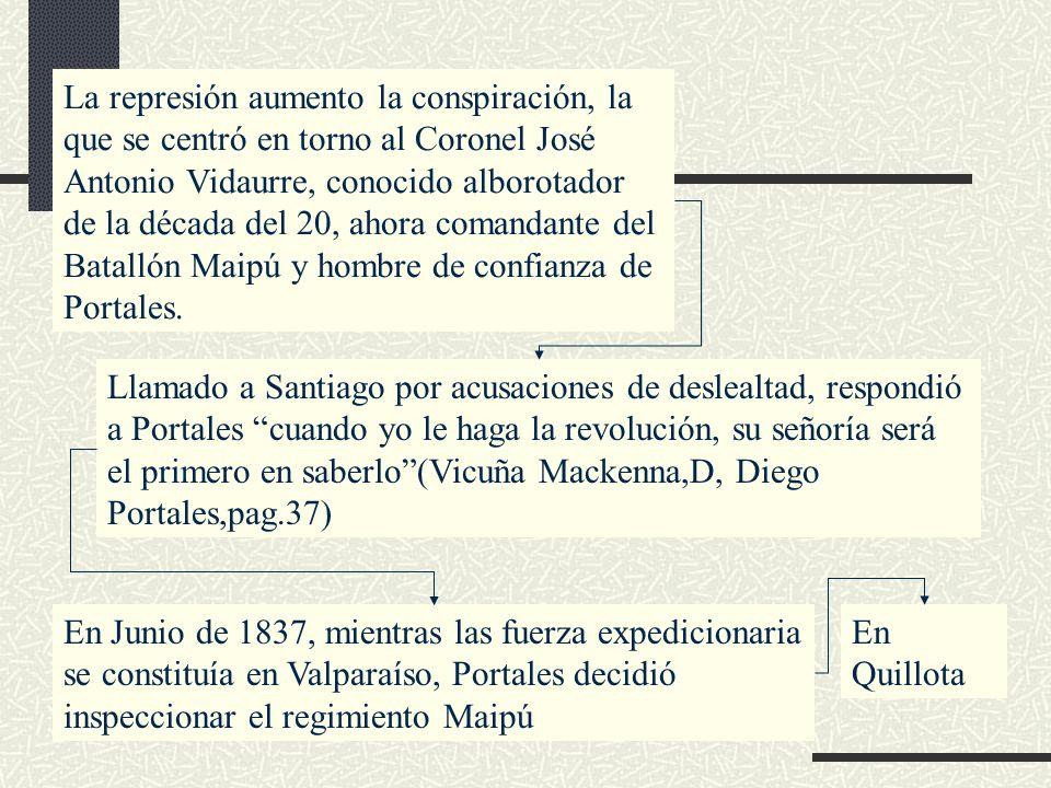La represión aumento la conspiración, la que se centró en torno al Coronel José Antonio Vidaurre, conocido alborotador de la década del 20, ahora comandante del Batallón Maipú y hombre de confianza de Portales.