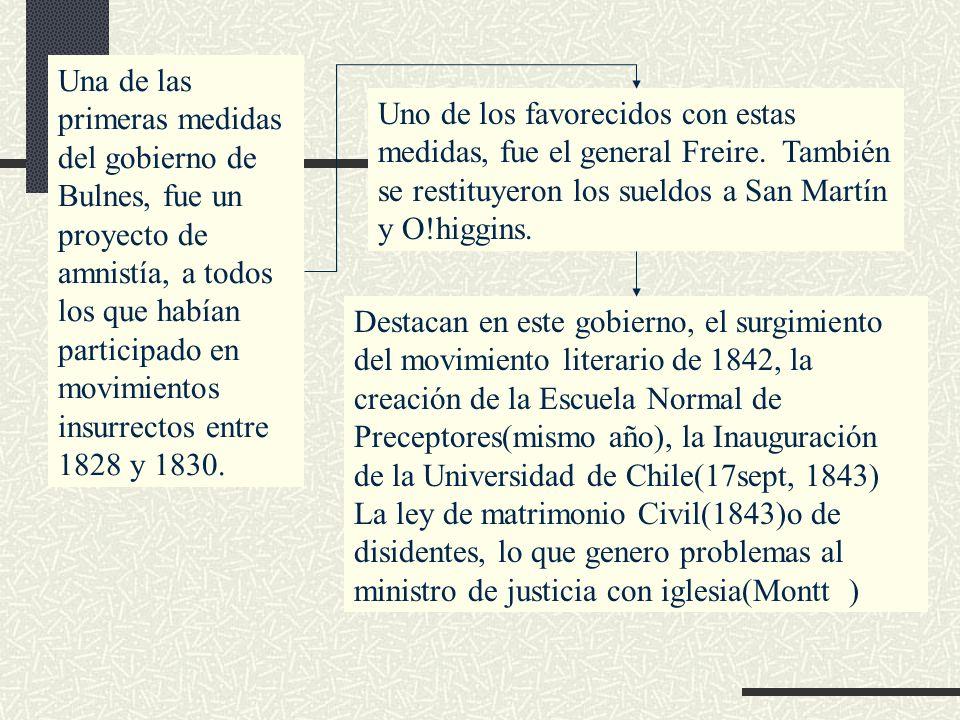 Una de las primeras medidas del gobierno de Bulnes, fue un proyecto de amnistía, a todos los que habían participado en movimientos insurrectos entre 1828 y 1830.