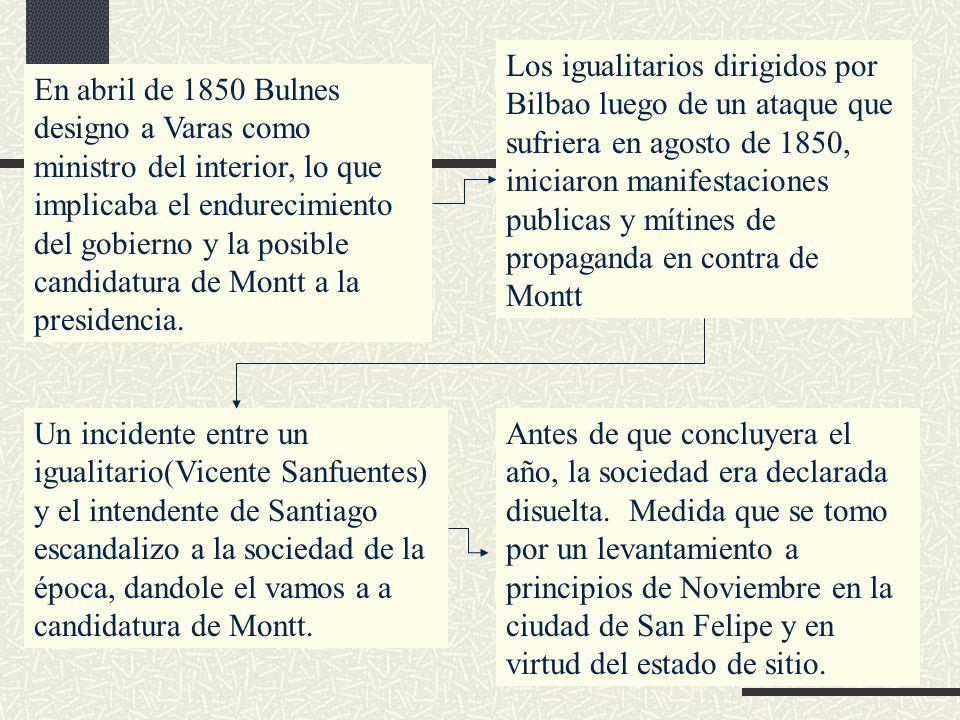Los igualitarios dirigidos por Bilbao luego de un ataque que sufriera en agosto de 1850, iniciaron manifestaciones publicas y mítines de propaganda en contra de Montt