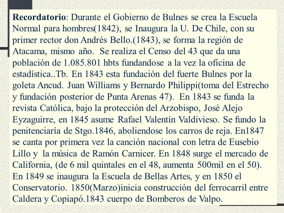 Recordatorio: Durante el Gobierno de Bulnes se crea la Escuela Normal para hombres(1842), se Inaugura la U.