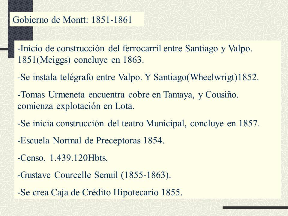 Gobierno de Montt: 1851-1861 -Inicio de construcción del ferrocarril entre Santiago y Valpo. 1851(Meiggs) concluye en 1863.