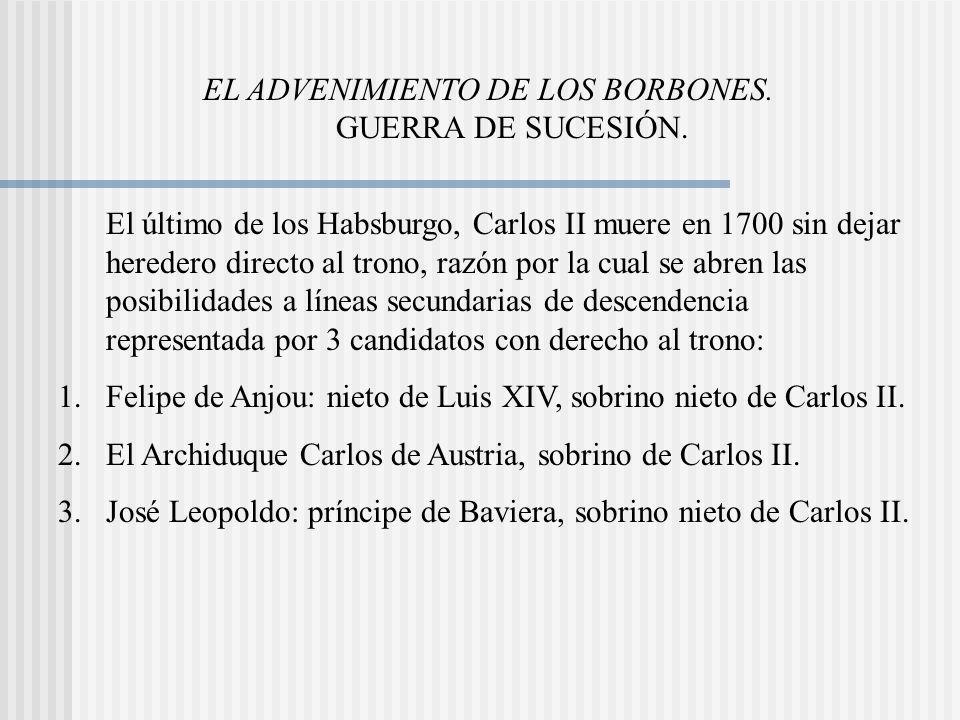 EL ADVENIMIENTO DE LOS BORBONES. GUERRA DE SUCESIÓN.