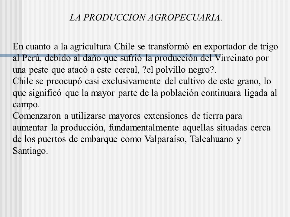 LA PRODUCCION AGROPECUARIA.