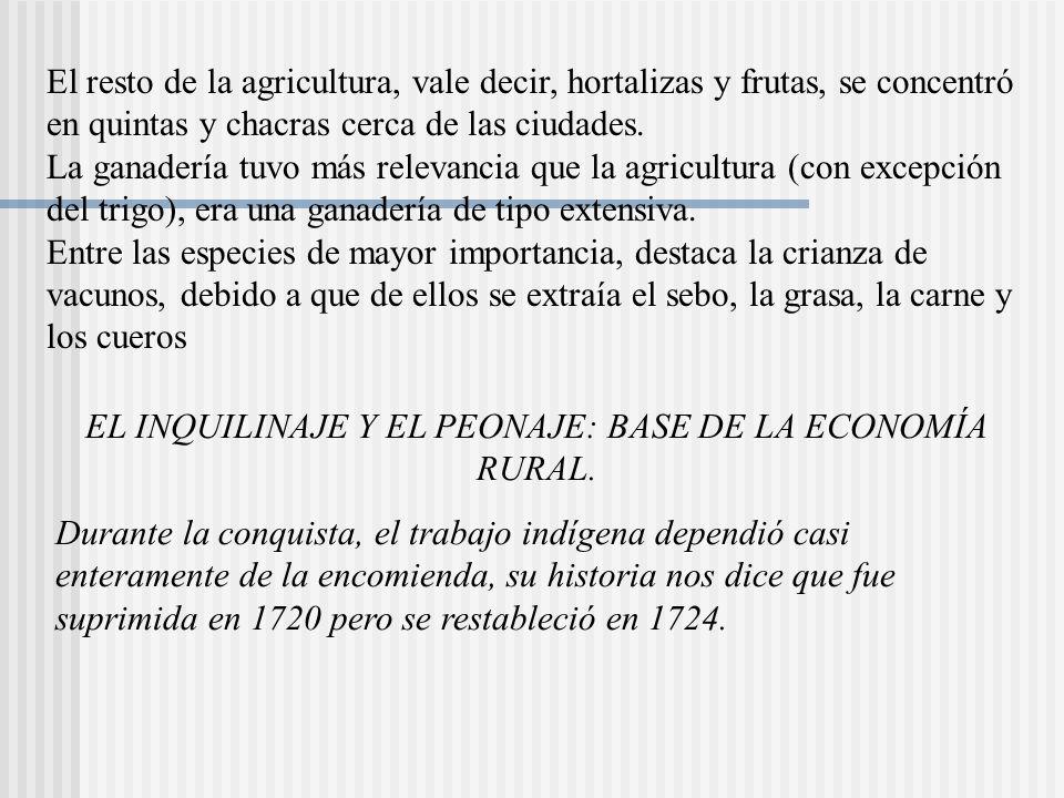 EL INQUILINAJE Y EL PEONAJE: BASE DE LA ECONOMÍA RURAL.