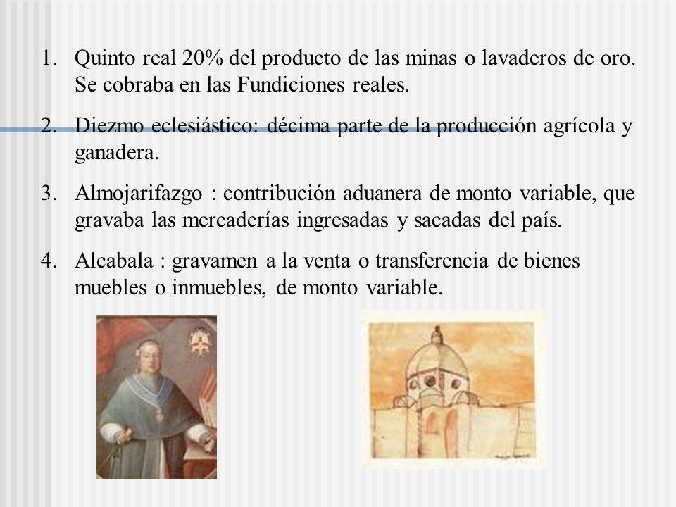 Quinto real 20% del producto de las minas o lavaderos de oro