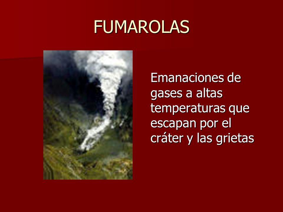 FUMAROLAS Emanaciones de gases a altas temperaturas que escapan por el cráter y las grietas