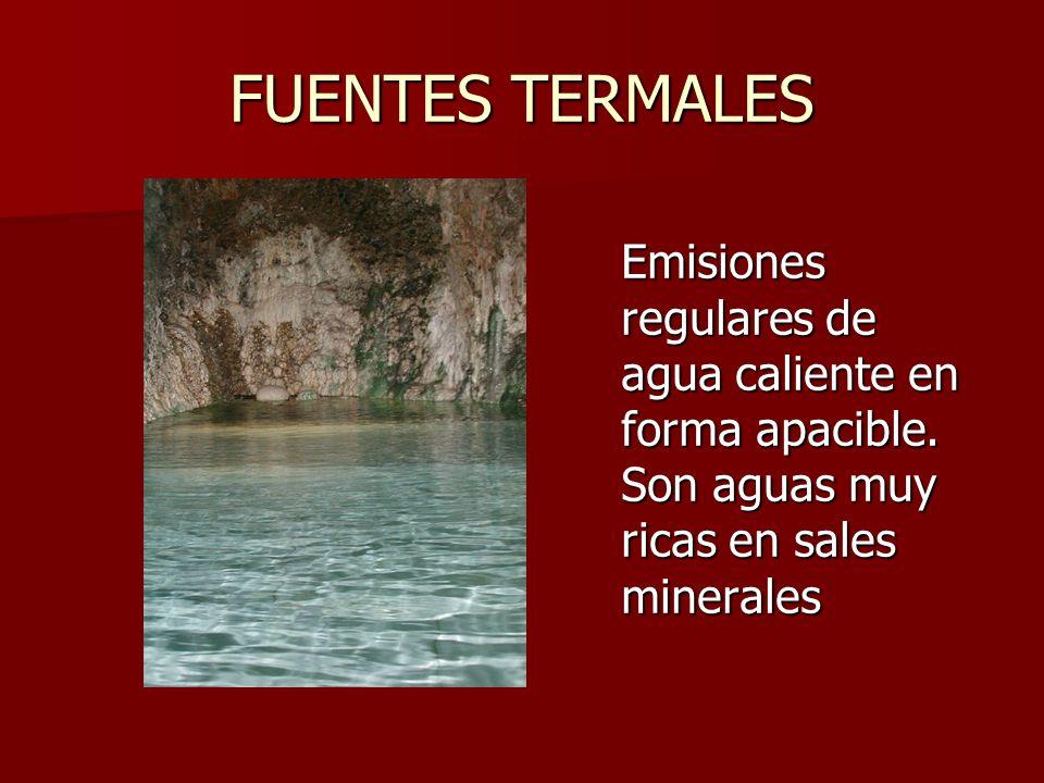 FUENTES TERMALES Emisiones regulares de agua caliente en forma apacible.