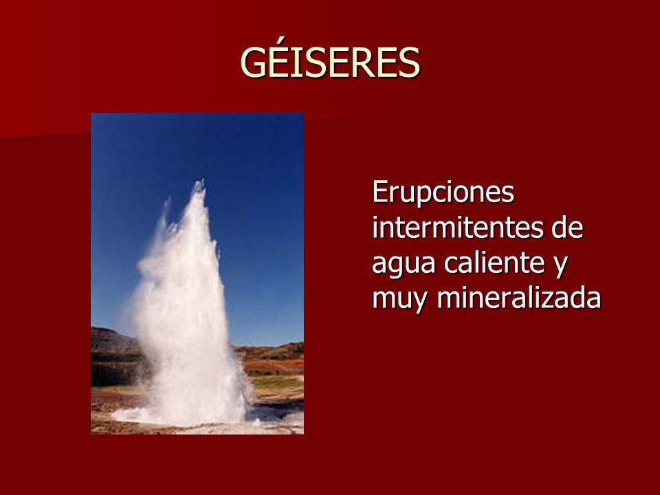 GÉISERES Erupciones intermitentes de agua caliente y muy mineralizada