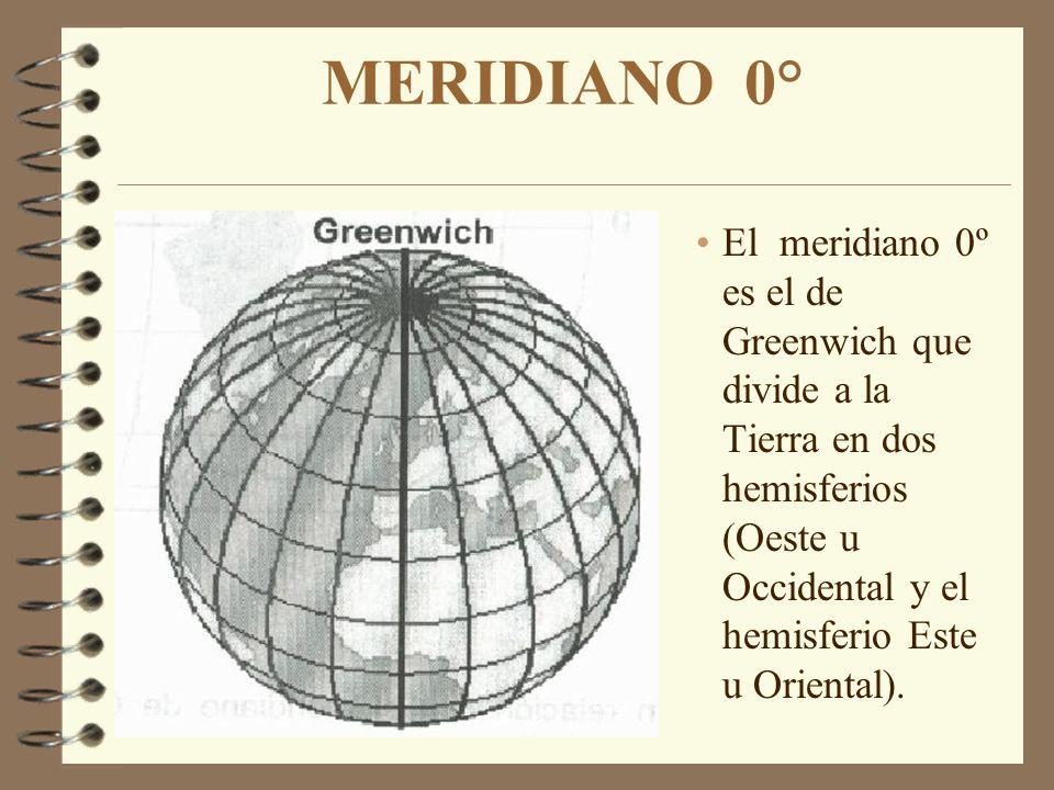MERIDIANO 0° El meridiano 0º es el de Greenwich que divide a la Tierra en dos hemisferios (Oeste u Occidental y el hemisferio Este u Oriental).