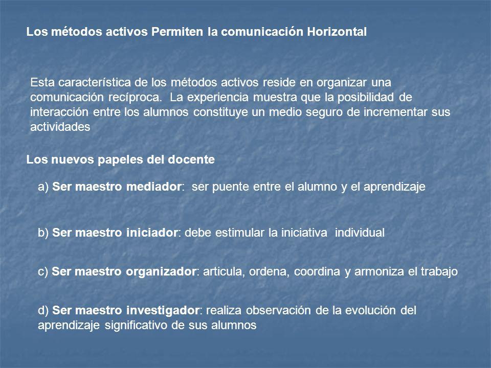Los métodos activos Permiten la comunicación Horizontal