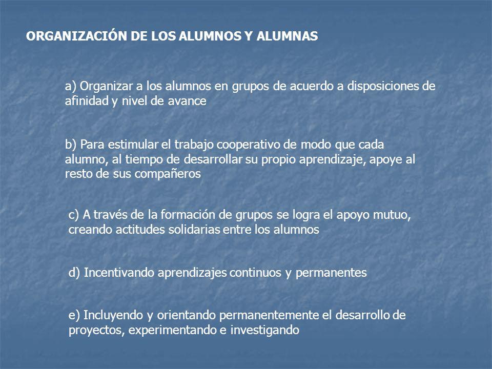 ORGANIZACIÓN DE LOS ALUMNOS Y ALUMNAS