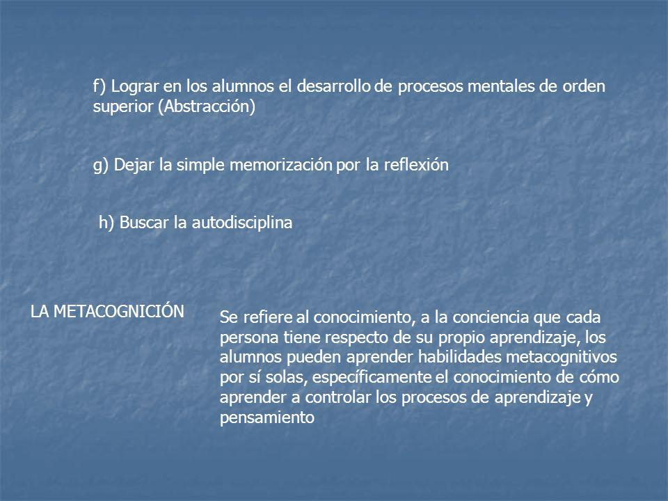 f) Lograr en los alumnos el desarrollo de procesos mentales de orden superior (Abstracción)