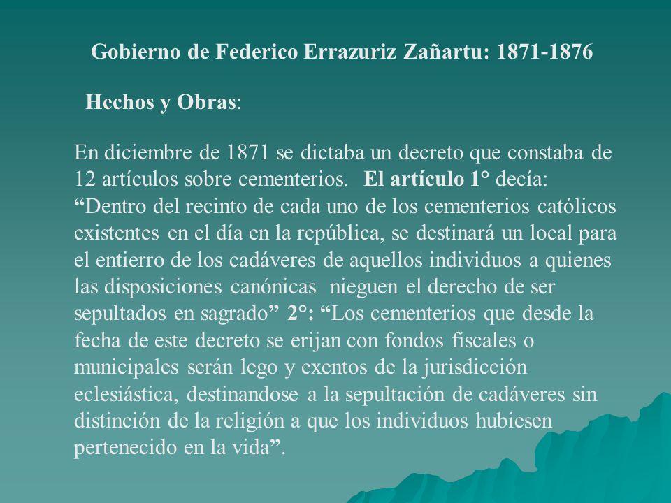 Gobierno de Federico Errazuriz Zañartu: 1871-1876