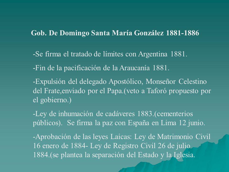 Gob. De Domingo Santa María González 1881-1886
