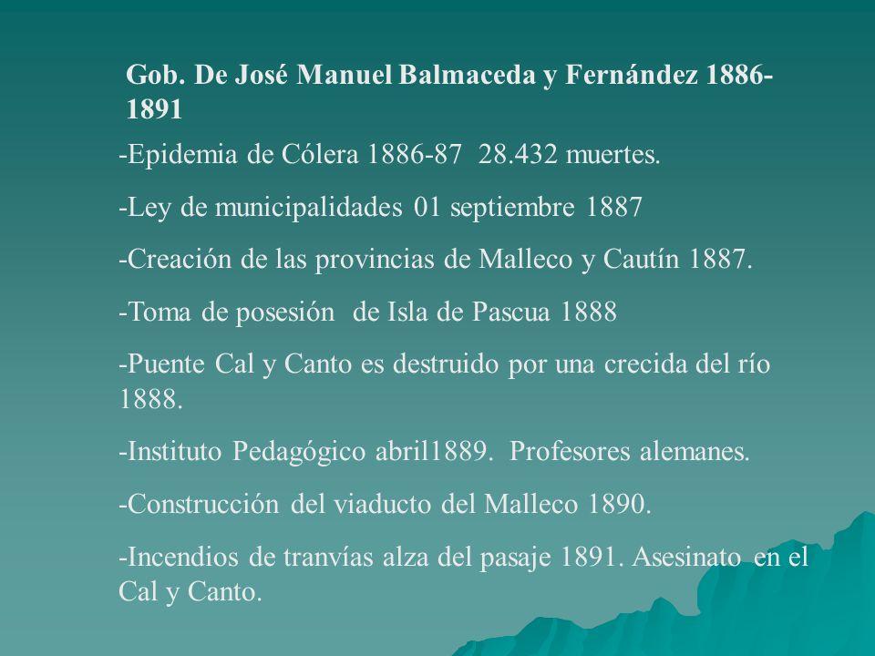 Gob. De José Manuel Balmaceda y Fernández 1886-1891