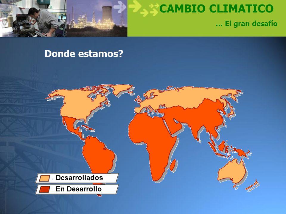 CAMBIO CLIMATICO Donde estamos … El gran desafío Desarrollados