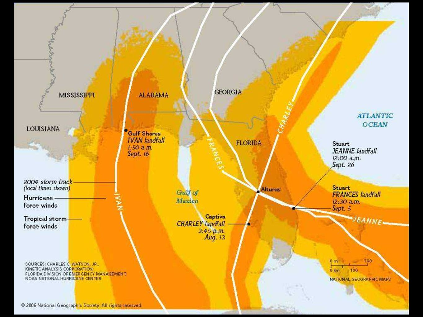 Yellow areas mark the cumulative area which experienced Tropical Storm force winds in 2004. Orange areas mark the cumulative area which experienced huracán force winds in 2004. Little of Florida was left untouched.