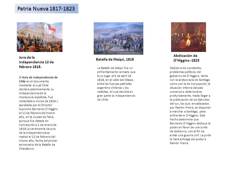 Patria Nueva 1817-1823 Abdicación de O'Higgins -1823
