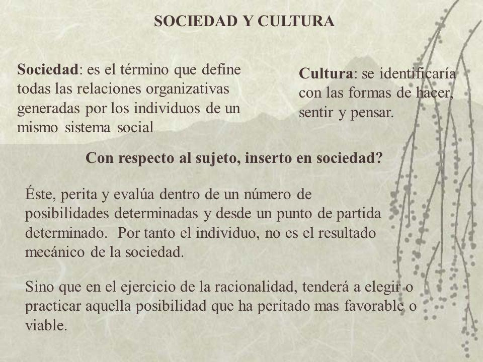 SOCIEDAD Y CULTURA Sociedad: es el término que define todas las relaciones organizativas generadas por los individuos de un mismo sistema social.