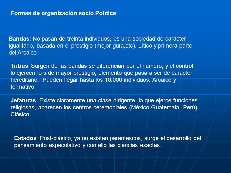 Formas de organización socio Política:
