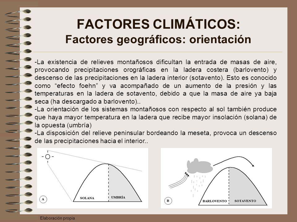 FACTORES CLIMÁTICOS: Factores geográficos: orientación