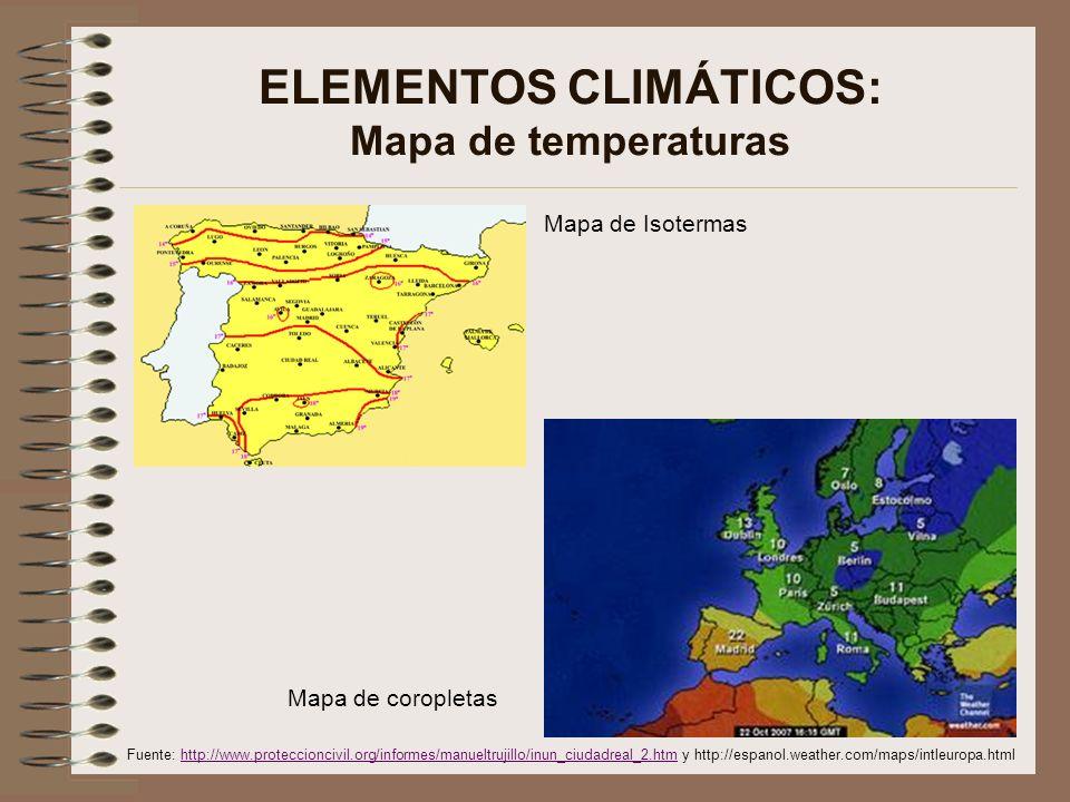 ELEMENTOS CLIMÁTICOS: Mapa de temperaturas